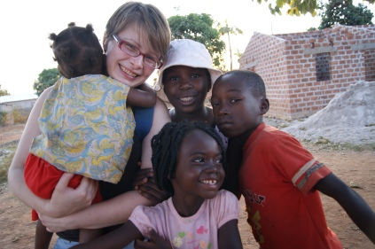 Anna with the local children