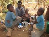 Michael, Helen, Natasha and Mpalo having lunch