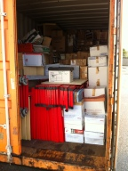 Container full of Books and shelves ready to be shipped out to Zambia