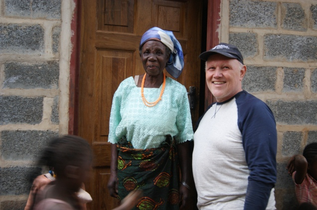 Moira Moloshi with John Keegan who helped build the house in 2014