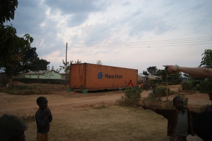 The container at its final destination in Chipulukusu where it will serve as community library